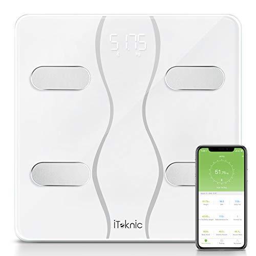 Pèse Personne Impédancemètre, iTeknic Balance Connectée Pèse Personnes Bluetooth Électronique Digital Balance Poids Masse Graisseuse et Muscle, Graisse, Masse Musculaire, Eau et IMC Pour iOS Android