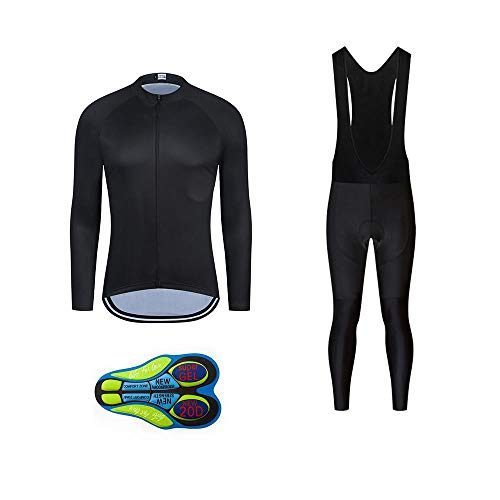 MOXILYN Men Cycling Jerseys Cycling Gear Kits Bike Clothing Set Long Sleeves MTB Shirts and Cycling Bibs with 20D Padded Black