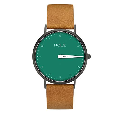 Pole Watches Damen Quarz Analoge Einzeigeruhr in Aquamarin und Lederband in Braun Modell Dagmar N-1003AQ-BL09