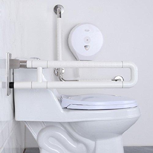 SDKKY Barres de sécurité dans Le Bain Barrière résistant Patin Libre Rails poignée Pliable Personnes âgées handicapées Salle de Bain WC Toilettes Toilettes Nylon Double