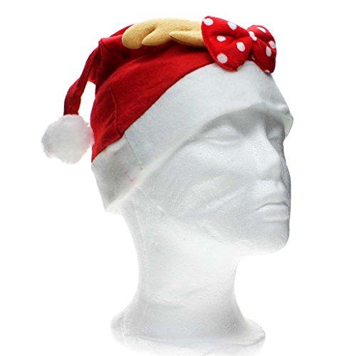 VANKER Père Noël Costume de Déguisement Chapeau avec Andouiller Bowknot Noël Fête Célébration Bonnet Adulte