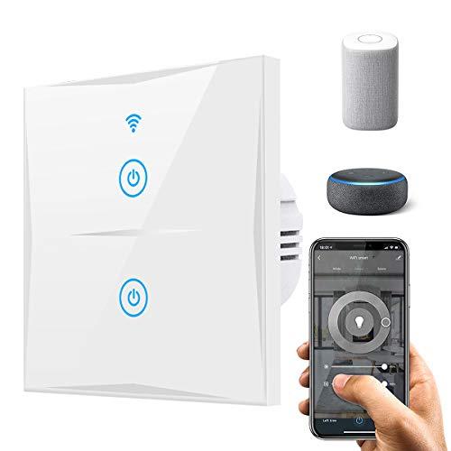 Alexa Smart Lichtschalter, SAIHAM 2-Weg-Wifi-In-Wall-Schalter arbeitet mit Amazon Alexa und Google Home, Timing-Funktion mit gehärtetem Glas Touchscreen, Steuern Sie Ihre Geräte von überall (2-weg)