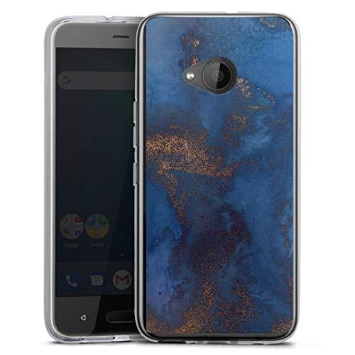 DeinDesign Silikon Hülle kompatibel mit HTC U11 Life Hülle transparent Handyhülle Gold und Kupfer Marmor Gold