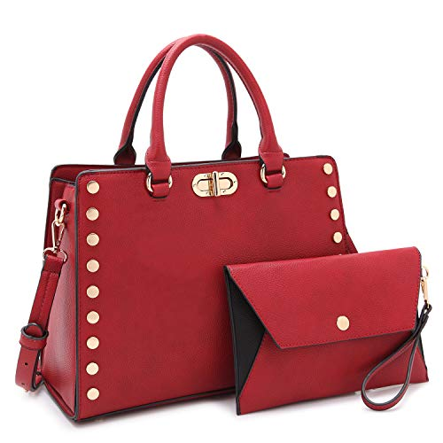 Dasein Purses and Handbags for Women Satchel Bags Top Handle Shoulder Bag Work Tote Bag With Matching Wallet (Red)