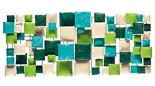 Meubletmoi Décoration Murale rectangulaire 120 cm en métal Vert/Turquoise- Objet décoratif Artisanal à Suspendre - Quadro 02