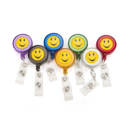 Officeship Retractable Smile Face Badge Reels 7 PCS, Assorted Colors-Smile Face 7PCS