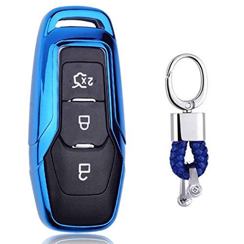 Azul Funda de TPU Suave para Llave + Llavero para Coche Ford Mondeo Mustang Edge
