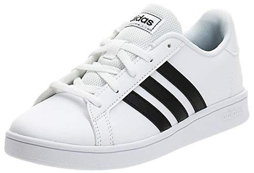 adidas Grand Court K, Chaussure de Tennis Mixte, Blanc FTW Bla Negbás FTW Bla 000, 39 1/3 EU