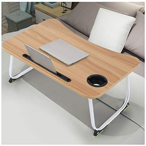 Folding Laptop Desk for Bed, Mosunx Multi-Function Laptop Bed Table with Phone Stand, Bed Trays for Eating, Foldable Writing Desk for Sofa (Brown (with Cup Holder), 23.6x15.7x11 inches)