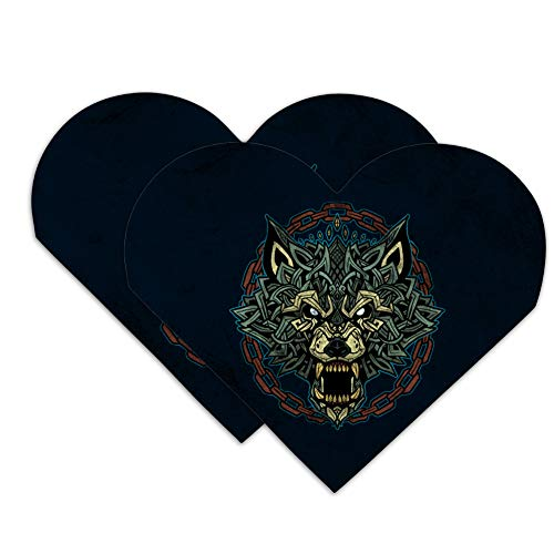 Fenrir Fierce Snarling Wolf in Chains Norse Mythology Heart Faux Leather Bookmark - Set of 2