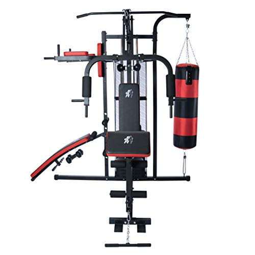 Fit4home 7005 Professional Home Gym punching bag & 68kg weight stack Sit up bench multi...