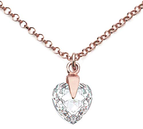 Ah! Jewellery Hand Finished 10mm Clear Heart Crystals from Swarovski Intricate Pendant Necklace. Vermeil 18k Rose Gold Over Sterling Silver. Stamped 925. Amazing Quality With A Sparkling Finish