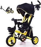 Triciclo para niños, Manejo de los padres 4 en 1 Plegable 360 GRUPO Girocatario Cochecito de bebé TRIKES DE NIÑOS (Color: Amarillo)