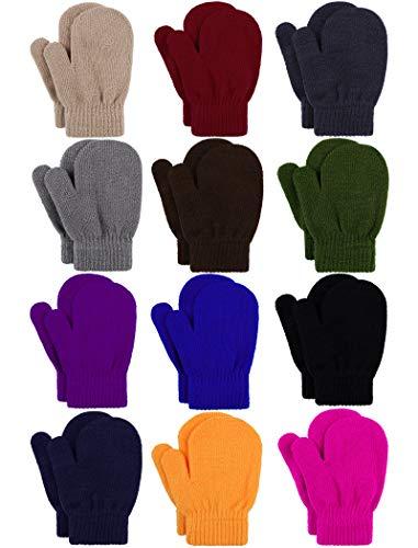 Cooraby 12 Paar Kleinkind Winter Fäustlinge Unisex Gestrickte Baby Handschuhe Fäustlinge Gr. 2-4 Jahre, Schwarz, Grau, Marineblau, Jujube-Rot, gemischte Bonbonfarben.
