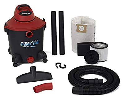 Shop Vac 5821200 12 Gal 5.0 PHP Wet Dry Vacuum with built in Pump will pump out with garden hose. Uses Type U Cartridge Type R Foam plus Type F Filter Bag
