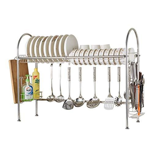 JPL Estante de almacenamiento de la cocina doméstica, estante de secado para fregadero, estante de exhibición de escurridor de acero inoxidable, organizador de vajilla con soporte de ahorro de espaci