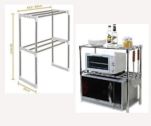 HJFGSAK Estante ajustable multifuncional doble de almacenamiento de cocina de acero inoxidable para microondas, 1