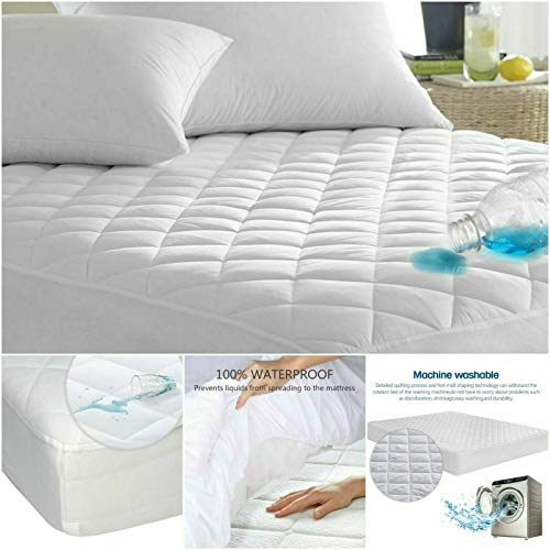 NIGHTS WATERPROOF QUILTED MATTRESS PROTECTOR SINGLE SMALL DOUBLE SUPER KING SIZE (Cot Bed 70 X 140CM)