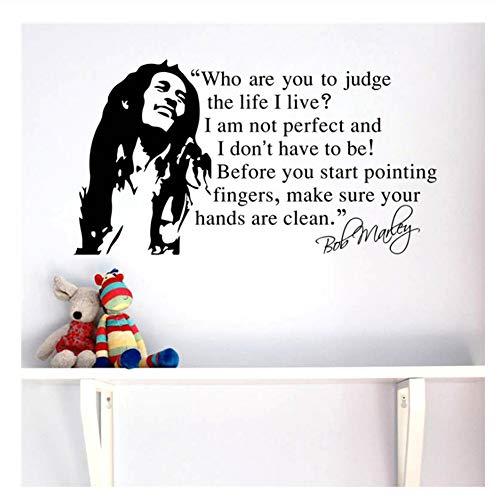 Bob Marley Zitate Vinyl Wandtattoos Poster Wandkunst Tapete Wandaufkleber Dekoration Musik Party Supply 81x150 cm