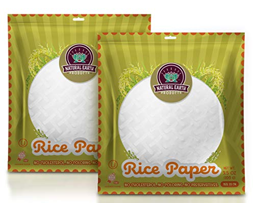 Natural Earth Products Rice Paper, Perfect Wrappers for Spring Rolls and Dumplings, Kosher Certified, Resealable Bag, 3.5 Oz (2-Pack, Total of 7 Oz)