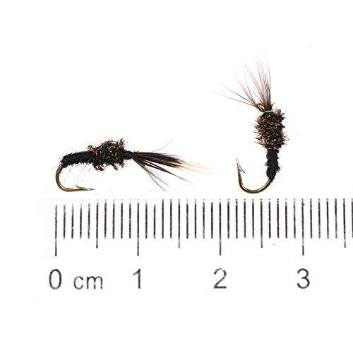 L-MEIQUN, 6PCS Black Body Fliegen Nymphen Emerger Pupae Tenkara Fliegenbinden Haken Forelle-Fischen-Köder Fliegen-Köder # 14