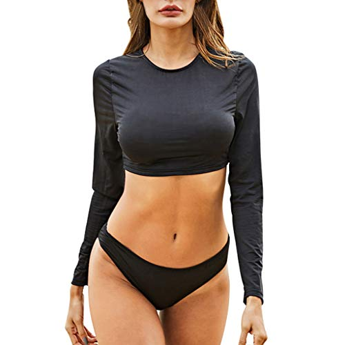 TOPUNDER Sexy Womens High Waist Long Sleeve Bikini Set Beach Swimsuit Monokini Black