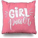 Funda de Almohada Chica Rosa Poder Cita de Feminismo Lema Motivacional Decir Feminista Cepillo áspero Letras Texto Movimiento Sofá Cuadrado Fundas de cojín Fundas de Almohada 45X45CM