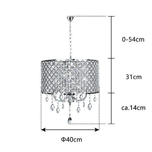 Kristall Hängeleuchte Lampenschirm Kronleuchter Deckenlampe Lüster Pendelleuchte zylindrisch Hängelampenschirm E14 (Keine Glühbirne enthalten) - 2