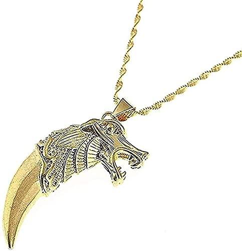 WYDSFWL Collar Color Oro Collar Lobo Diente Colgante Collar Lobo Lobos Cadena de Pesca joyería Animal Regalo para Mujeres Hombres Regalos