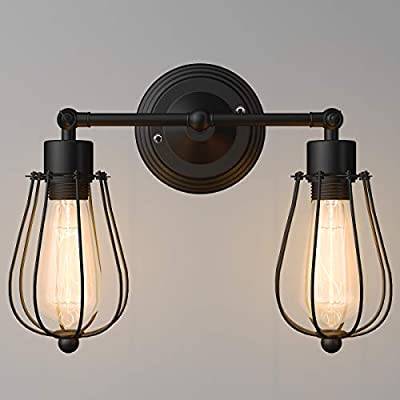 Tangkula Wall Sconce Wall Light Fixture Black Matal Industrial Vintage Rustic Retro Style Indoor Outdoor Wall Lamp Bar Loft Wire Cage with Bulb (2-Light)