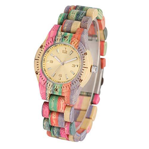 RWJFH Reloj de Madera Reloj de Madera para Mujer, Cuarzo, Colorido Natural, Brazalete de Madera de bambú, Reloj Elegante para Mujer, Reloj de Madera, Regalos Calientes, Madera Colorida