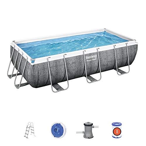 Power Steel Frame Pool Komplett-Set, eckig, mit Filterpumpe & Sicherheitsleiter 404 x 201 x 100 cm