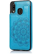 Lijc Compatible con Funda Samsung Galaxy A20S Botón Doble Mandala En Relieve PU Cuero Tarjeta Bolsillos [Ranura para Tarjetas] [Soporte Plegable] Antigolpes Flip Caso-Azul