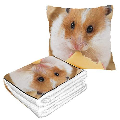 Little Hamster Essdecke Kissen Warm Weich 2-in-1 Combo Kissen mit Decke Innen Camping Auto Reisen Flugzeug Reisekissen für jede Reise