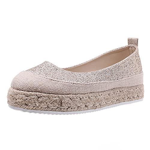 MYWA Plataforma Cuña Alpargatas Mujeres Punta Cerrada Lentejuelas Patchwork Mocasines Zapatos de Lona Transpirables Casuales Sandalias