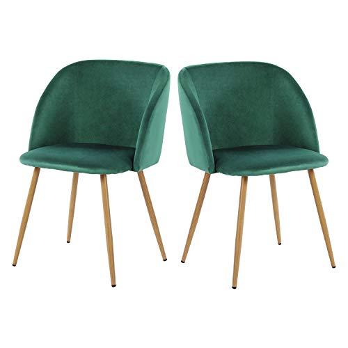 H.J WeDoo 2er Set Vintager Retro Stuhl Sessel Polstersessel Samt Lounge Sessel Clubsessel Fernsehsessel mit hölzernen Metallbeine, Dunkelgrün