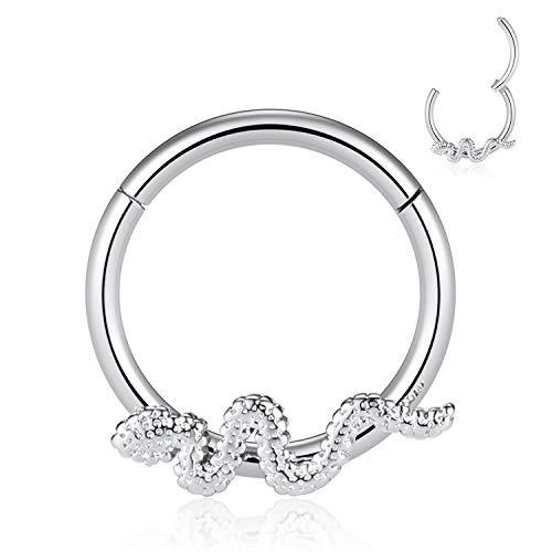 Kzslive 16G Edelstahl Silber Septum Clicker Snake Hinged Segment Ring Daith Turm Ohr Piercing Schmuck