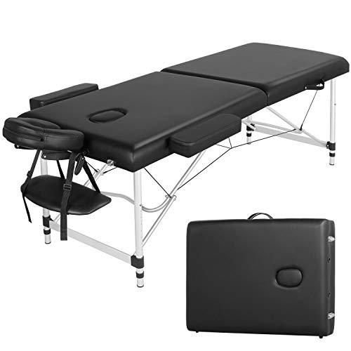 Yaheetech Lettino da Massaggio Pieghevole Portatile Leggero a 2 Zone Alluminio 213 x 70 cm per Fisioterapia Altezza Regolabile Poggiatesta e Briaccioli Rimovibili con Borsa da Trasporto
