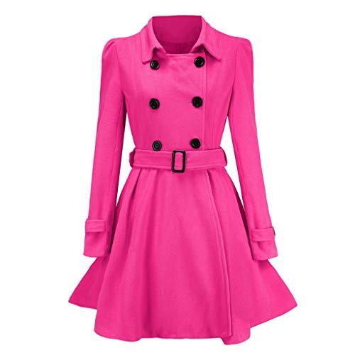 ReooLy Invierno Cálido Mujer Botones Abrigo de Lana Gabardina Chaqueta Cinturón Abrigo Prendas de Vestir(Rosa Caliente,XL)