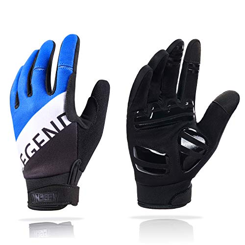 aegend Adjustable Lightweight Cycling Gloves - Touch Screen, Anti-Slip Full Finger Mountain Bike Gloves - Breathable Sports Gloves for Biking, Workout - Unisex Motorcycle Gloves for Men/Women, L