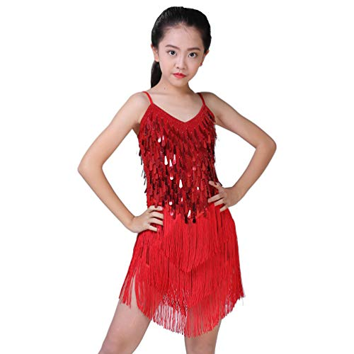 YOUJIAA Latin Dance Kleid für Mädchen Rückenfrei Funkelnde Pailletten Quaste Ärmelloses Salsa Rumba Partei Dancewear Kostüm (Dunkelrot, CN S)
