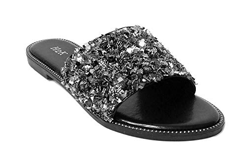 H2K Womens Glitter Bling Jewel Stone Fancy Slide Flat Low Wedge Sandals Shoes Dream (10 B(M) US, Black)