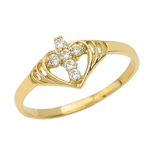 Unique 10k Yellow Gold CZ Studded Open Heart Cross Ring (Size 4.5)