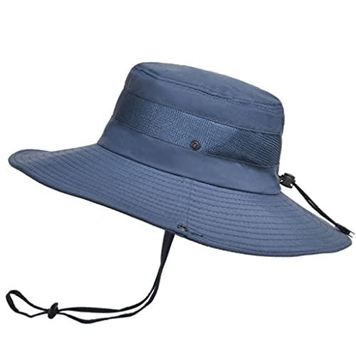 QIFFIY Sunhat Summer Transpirable Mess Sun Perrero Sombrero Hombre Pesca al Aire Libre Montajeerering Grandes Aleros Pescador Hat Mujeres (Color : Navy Blue)