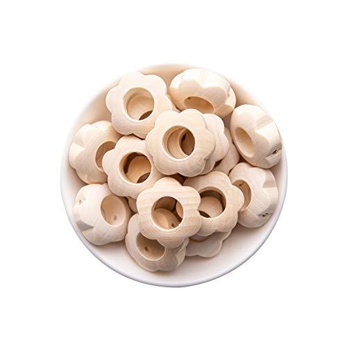 Mamimami Home Holzblume Typ Zahnkleber 20pc Baby Zahngel Spielzeug DIY Schnullerkette Halskette Baby Bad Spielzeug Baby Geschenke