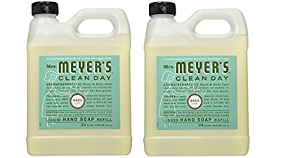 Mrs. Meyer's Liquid Hand Soap Refill, Basil, 33 Fluid Ounce Pack of 2