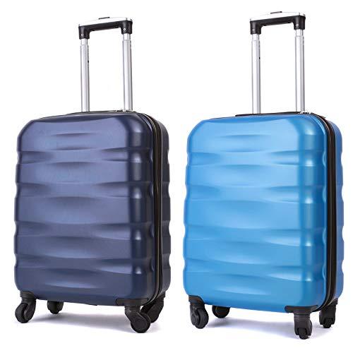 55x40x20cm Lightweight Ryanair Maximum Size Carry On Hand Cabin Luggage Suitcase, Bagaglio a Mano Unisex (55cm-31.5L) (Blu+BluChiarol-New)