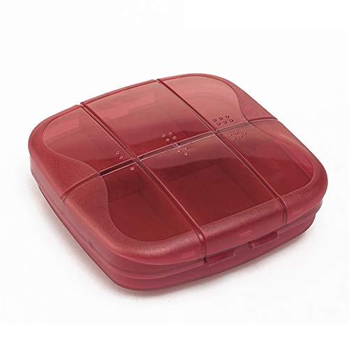 Demarkt Tablettenbox voor 7 dagen, pillendoos voor reizen, pillendoos met 6 gescheiden vakken 10 * 3.5 * 10CM rood