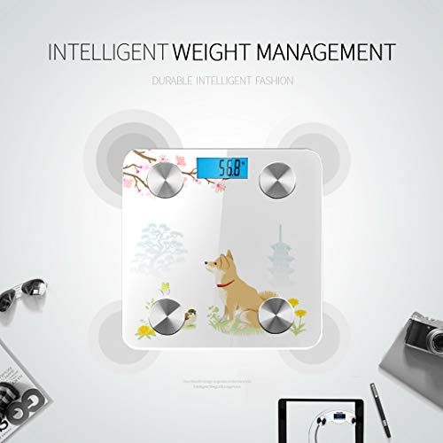 JXCSGBD Cute Cartoon Shiba Inu Dog Best Rated Bathroom Scales Bathrooms Scales Bodyfat Scale Tracks 8 Key Compositions Analyzer Sync with Fitness Apps 400 Lbs