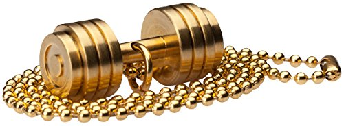 WHYRAL Bodybuilding GYM Edelstahl Fitnesskette Hantel Kette GOLD in 3 Varianten (Hantel 1 - Gold)